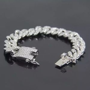 18K WHITE GOLD CUBAN MIAMI LINK ICED OUT BRACELET